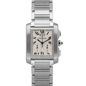 Cartier White Stainless Steel Tank Francaise Chronograph Quartz W51024Q3 Women's Wristwatch 28 x 28 MM