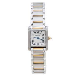 Cartier Ivory 18K Yellow Gold and Stainless Steel Tank Francaise 2384 Women's Wristwatch 20 mm