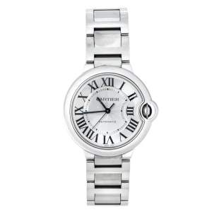 Cartier Silver Stainless Steel Ballon Bleu 3284 Women's Wristwatch 36 mm