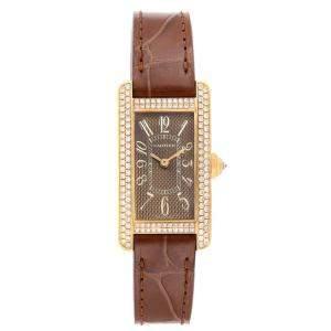 Cartier Brown Diamonds 18k Yellow Gold Tank Americaine 2482 Women's Wristwatch 19 x 28 MM