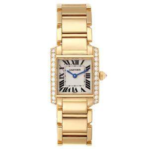 Cartier White Diamonds 18K Yellow Gold Tank Francaise WE1001R8 Women's Wristwatch 20 x 25 MM