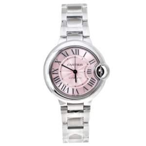 ساعة يد نسائية كارتييه بالون بلو 3489 ستانلس ستيل وردية 33 مم