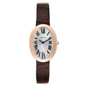 Cartier Silver 18k Rose Gold Baignoire W8000007 Women's Wristwatch 31 x 24 MM