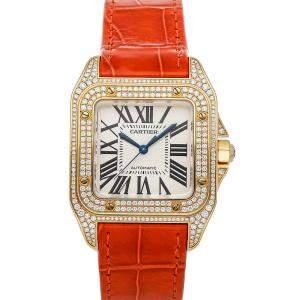 Cartier White Diamonds 18K Yellow Gold Santos 100 Medium WM502051 Women's Wristwatch 44 x 33 MM