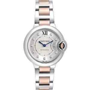 Cartier Silver Diamonds 18K Rose Gold And Stainless Steel Ballon Bleu WE902061 Women's Wristwatch 33 MM
