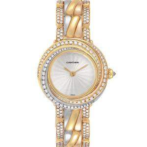 Cartier Silver Diamonds 18K Yellow/White/Rose Gold Trinity 2357 Women's Wristwatch 27 MM