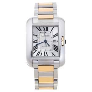 Cartier Silver 18K Rose Gold Stainless Steel Tank Anglaise W5310007 Women's Wristwatch 30 mm