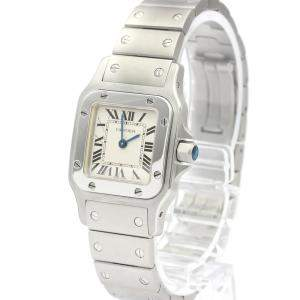 Cartier Silver Stainless Steel Santos Galbee Quartz W20056D6 Women's Wristwatch 24 MM