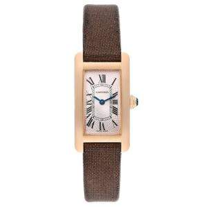 Cartier Silver 18K Rose Gold Tank Americaine 2503 Women's Wristwatch 19 x 28 MM