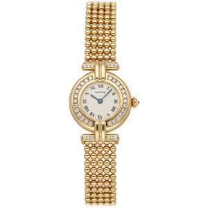 Cartier White Diamonds 18K Yellow Gold Colisee WB1017A8 Women's Wristwatch 24 MM