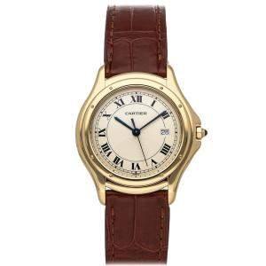 Cartier White 18K Yellow Gold Cougar W3500456 Women's Wristwatch 33 MM