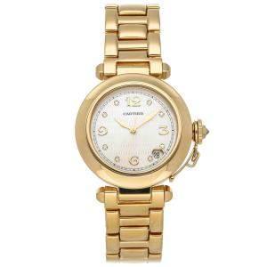 Cartier White Diamonds 18K Yellow Gold Pasha W3012156 Women's Wristwatch 35 MM