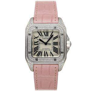 Cartier Silver Diamonds Stainless Steel Santos 100 WM501751 Women's Wristwatch 44 x 33 MM