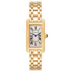 Cartier Silver 18K Yellow Gold Tank Americaine W26015K2 Women's Wristwatch 19 x 35 MM