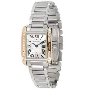 Cartier Silver Diamonds 18K Yellow Gold And Stainless Steel Tank Anglaise W3TA0002 Women's Wristwatch 30 x 22 MM