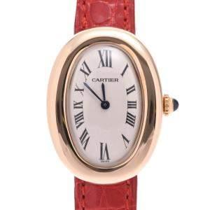 Cartier White 18K Yellow Gold Baignoire Women's Wristwatch 22 x 31 MM