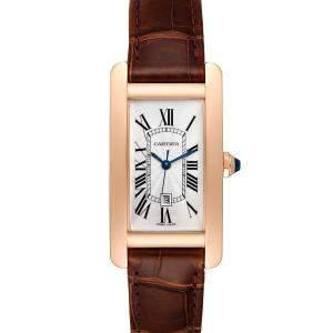 Cartier Silver 18K Rose Gold Tank Americaine W2620030 Women's Wristwatch 23 x 42 MM