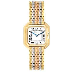 Cartier White 18K White Yellow Rose Gold Ceinture Paris Trinity Women's Wristwatch 22.5 MM