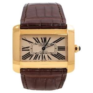 Cartier Cream 18K Yellow Gold Alligator Leather Tank Divan W6300856 Women's Wristwatch 38 mm