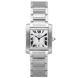 Cartier Silver Stainless Steel Tank Francaise W51002Q3 Women's Wristwatch 28 x 32 MM
