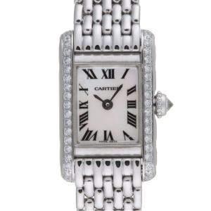 Cartier MOP Diamond 18K White Gold Tank Americaine WB2032U3 Women's Wristwatch 19 MM