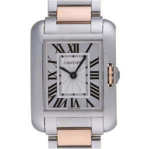Cartier Silver 18K Rose Gold And Stainless Steel Tank Anglaise W5310036 Women's Wristwatch 22.5 MM