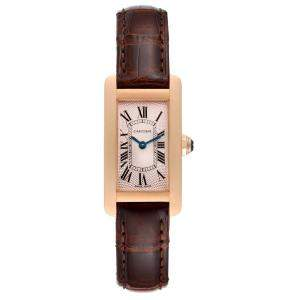 Cartier Silver 18K Rose Gold Tank Americaine 2597 Women's Wristwatch 19 x 28 MM