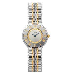 Cartier Silver Gold Tone Stainless Steel Must 21 W10073F4 Women's Wristwatch 27 MM