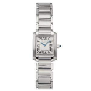 Cartier Silver Stainless Steel Tank Francaise W51008Q3 Women's Wristwatch 25 x 20 MM