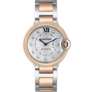 Cartier Silver Diamonds 18K Rose Gold And Stainless Steel Ballon Blue WE902078 Women's Wristwatch 36 MM
