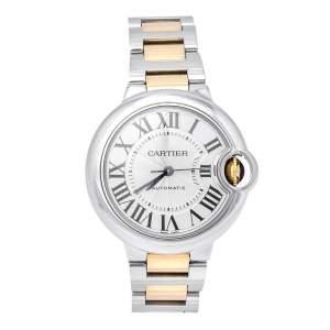 Cartier Silver 18K Yellow Gold Stainless Steel Ballon Bleu 3489 Women's Wristwatch 33 mm