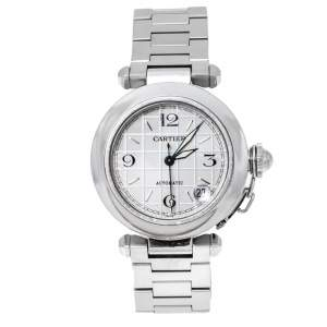 Cartier White Stainless Steel Pasha de Cartier 2324 Women's Wristwatch 35 mm
