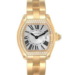 Cartier Silver Diamonds 18K Yellow Gold Roadster WE5001X1 Women's Wristwatch 31 x 37 MM