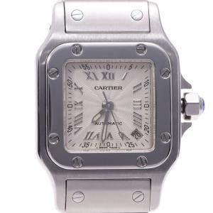 ساعة يد نسائية كارتييه سانتوس غالبي W20044D6 ستانلس ستيل فضية 24مم