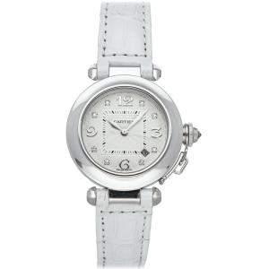 Cartier Silver Diamonds Stainless Steel Pasha WJ111136 Women's Wristwatch 32 MM