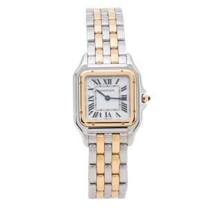 Cartier Silver 18K Yellow Gold Stainless Steel Panthere De Cartier W2PN0007 Women's Wristwatch 27 mm