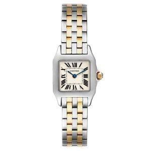 Cartier Silver 18k Yellow Gold And Stainless Steel Santos Demoiselle W25066Z6 Women's Wristwatch 22 x 22 MM