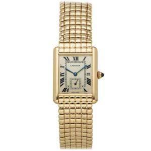 Cartier Silver 18K Yellow Gold Tank LC W15023C7 Women's Wristwatch 31 x 24 MM