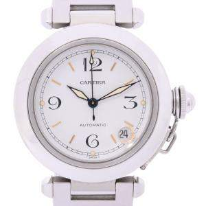 Cartier White Stainless Steel Pasha 2324 Automatic Women's Wristwatch 35 MM