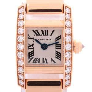 Cartier White Diamonds 18K Rose Gold Tankissime SM WE70058H Women's Wristwatch 30 x 20 MM
