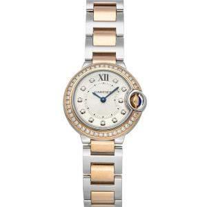 Cartier Silver Diamonds 18K Rose Gold And Stainless Steel Ballon Bleu de Cartier WE902076 Women's Wristwatch 28 MM