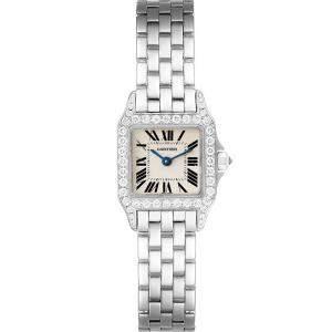 Cartier Silver Diamonds 18K White Gold And Stainless Steel Santos Demoiselle WF9005Y8 Women's Wristwatch 24 x 24 MM