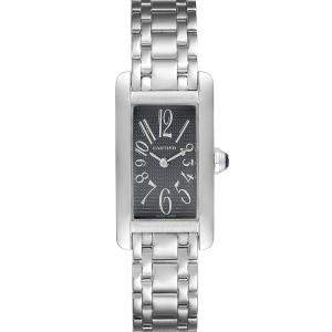 Cartier Grey 18K White Gold Tank Americaine 1713 Women's Wristwatch 19 x 35 MM