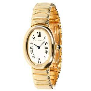 ساعة يد نسائية كارتييه بياغنور 1954 ذهب أصفر عيار 18 بيضاء 23مم