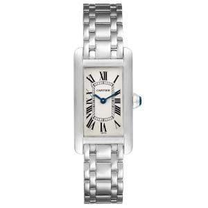 Cartier White 18K White Gold Tank Americaine W26015K2 Women's Wristwatch 19 x 35 MM