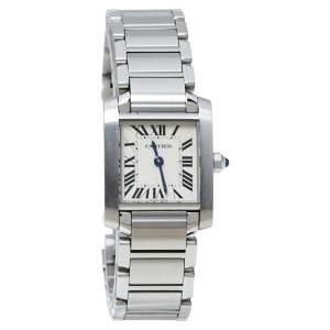 """ساعة يد نسائية كارتييه """"تانك امريكان 1726"""" ألماس و ذهب أبيض عيار 18 بيضاء 22x 41 مم"""