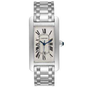 Cartier Silver 18K White Gold Tank Americaine Automatic 1726 Women's Wristwatch 23 x 42 MM