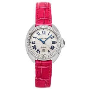 ساعة يد نسائية كارتييه كلو دو كارتييه WJCL0015 ذهب أبيض عيار 18 ألماس فضية 31 مم
