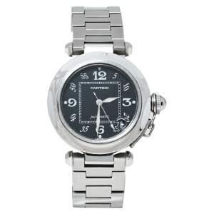 """ساعة يد نسائية كارتييه """"باشا دو كارتييه 2324 أوتوماتيك"""" ستانلس ستيل سوداء 35 مم"""