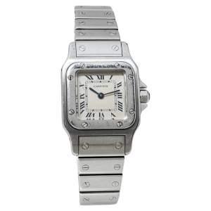 Cartier White Stainless Steel Santos Galbee 9057930 Women's Wristwatch 24MM